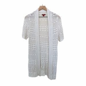 Merona short sleeve open knit white open cardigan